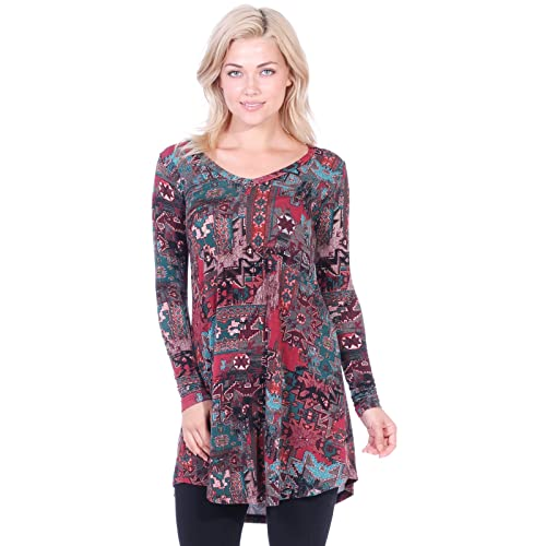 a03941eb5a8 Popana Women's Tunic Tops for Leggings Long Sleeve Shirt Plus Size Made in  USA