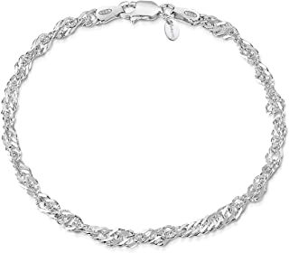 Amberta 925 Sterling Silver 3.6 mm Prince of Wales - Singapore Chain Bracelet Size: 7 7.5 8 inch