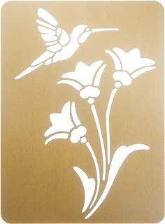 Humming Bird on Flowers Brass Embossing Stencil fnt