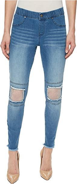 HUE - Fishnet Knee Patch Denim Skimmer