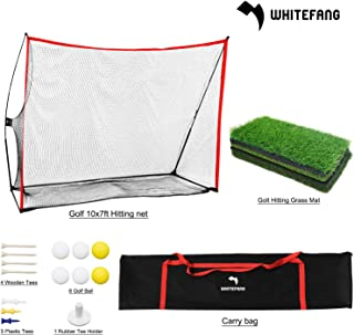 WhiteFang Golf Net,4 in 1 Golf Practice Set 10x7ft/3 in 1 Golf Netting Bundle/Just Golf Chipping Net/Just Golf Hitting Grass Mat|Golf Balls with Carry Bag for Backyard Driving/Indoor/Outdoor