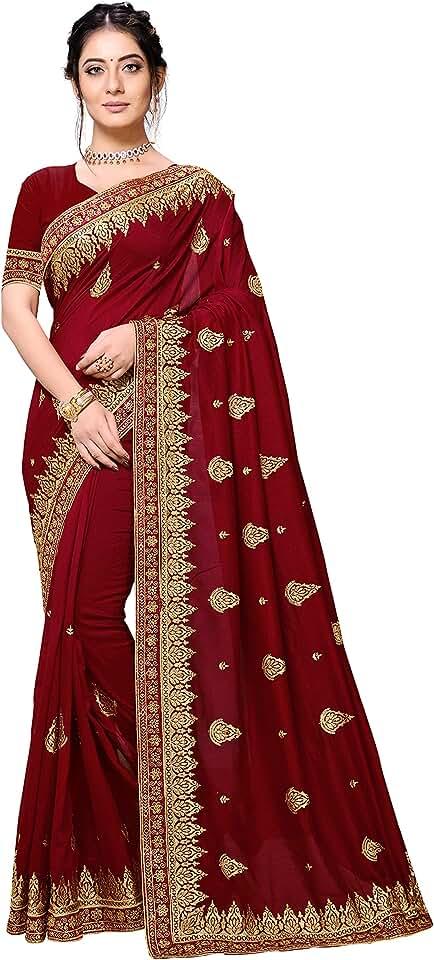 Indian NIVIM'S Studio Women's Vichitra Blooming Zari Butta Pattern Weaving Border Saree with Blouse Piece (BR-3, Maroon) Saree
