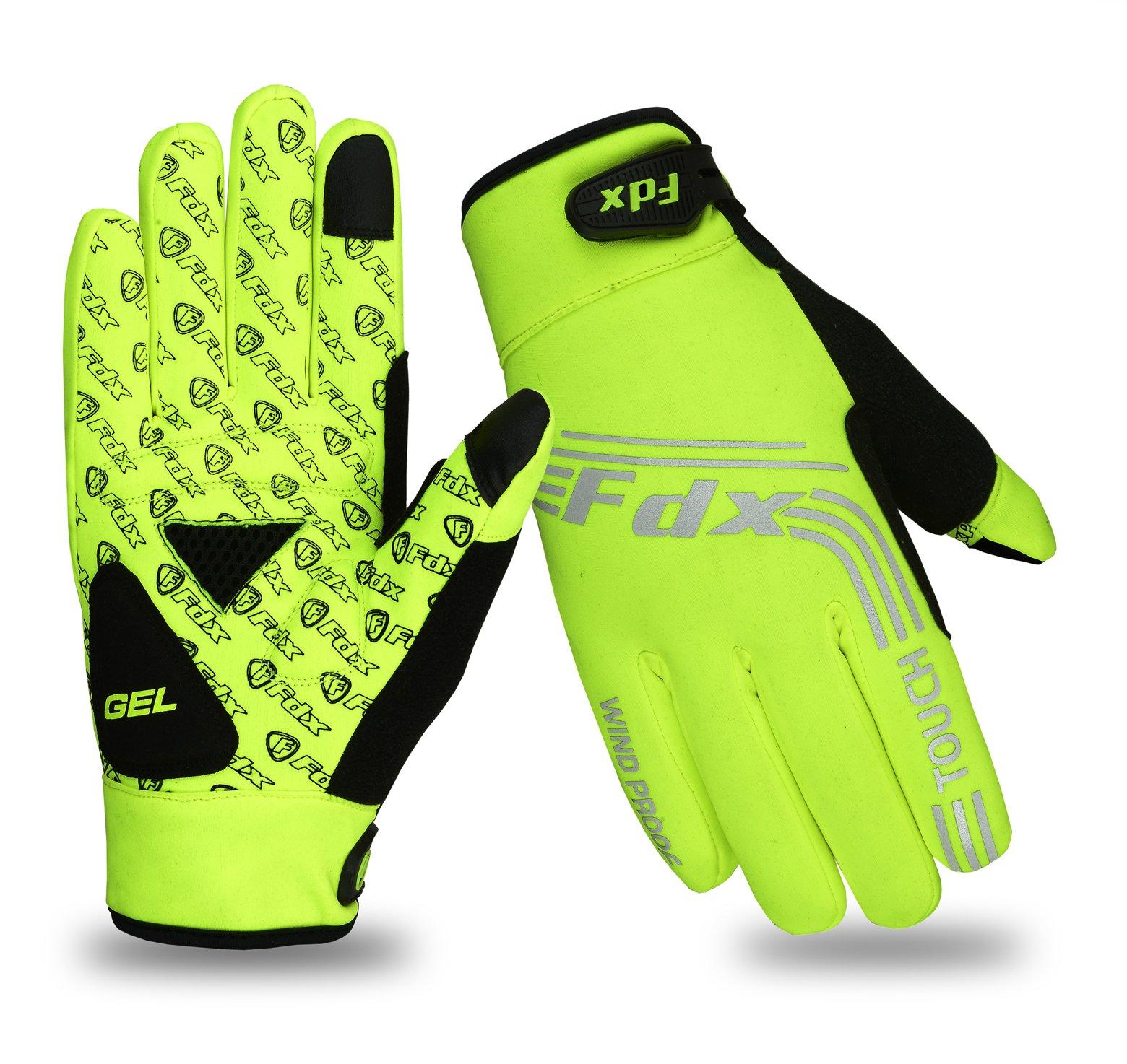 FDX Cycling Gloves Windproof Gel Padded Touchscreen  Full Finger Biking Gloves