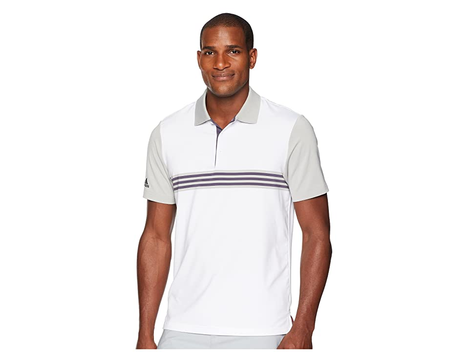 adidas Golf Ultimate Engineered 3-Stripe Polo (White/Grey Two) Men