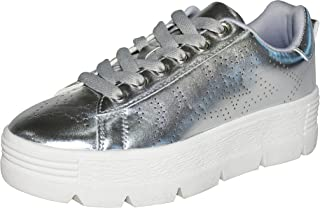 ROXY ROSE Platform Shoes for Women Quilted Shoelaces Square Toe Fashion Sneaker