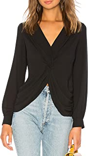 May&Maya Women's Surplice Front with Twist Detail Draped Top Blouse Tee Shirt