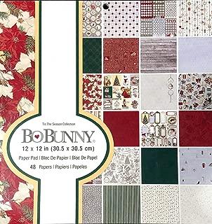 Bo Bunny - Tis The Season Vintage/Antique Christmas/Holiday 12x12 Scrapbooking Decorative Paper Pad - 48 Single-Sided Papers - Poinsettias, Christmas Trees, Snowflakes, Stockings, Santa Claus