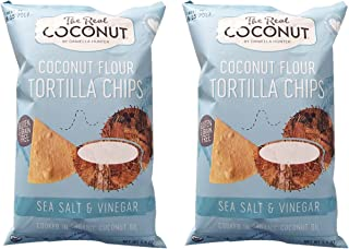 The Real Coconut Grain/Gluten Free Coconut Flour Tortilla Chips 2 Pack (Sea Salt & Vinegar)