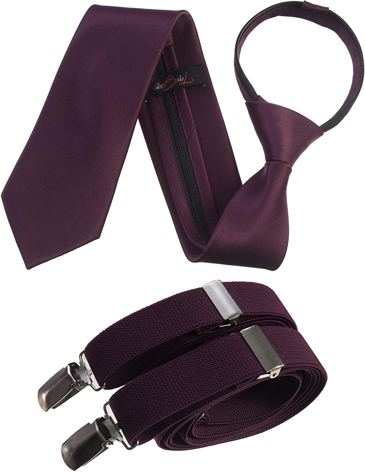 Tuxgear Mens Neck Tie and Adjustable Stretch Suspender Sets in Assorted Colors