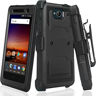 Compatible For ZTE Majesty Pro Case, ZTE Majesty Pro Plus Case, Heavy Duty Belt Clip Holster [Built In Screen Protector] Full Body Coverage Rugged Protection for ZTE Majesty Pro Z799VL, Black