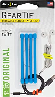 "Nite Ize GT3-4PK-38 Original Gear Rubber Twist Tie, 3"" - 4-Pack, Bright Blue"