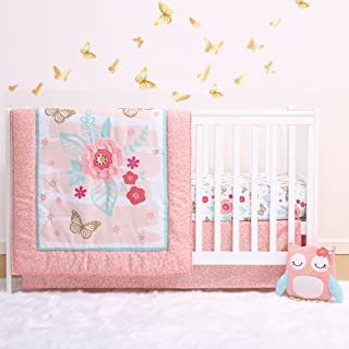 Aflutter 4-Piece Butterfly and Flowers Baby Crib Bedding Set by Little Haven