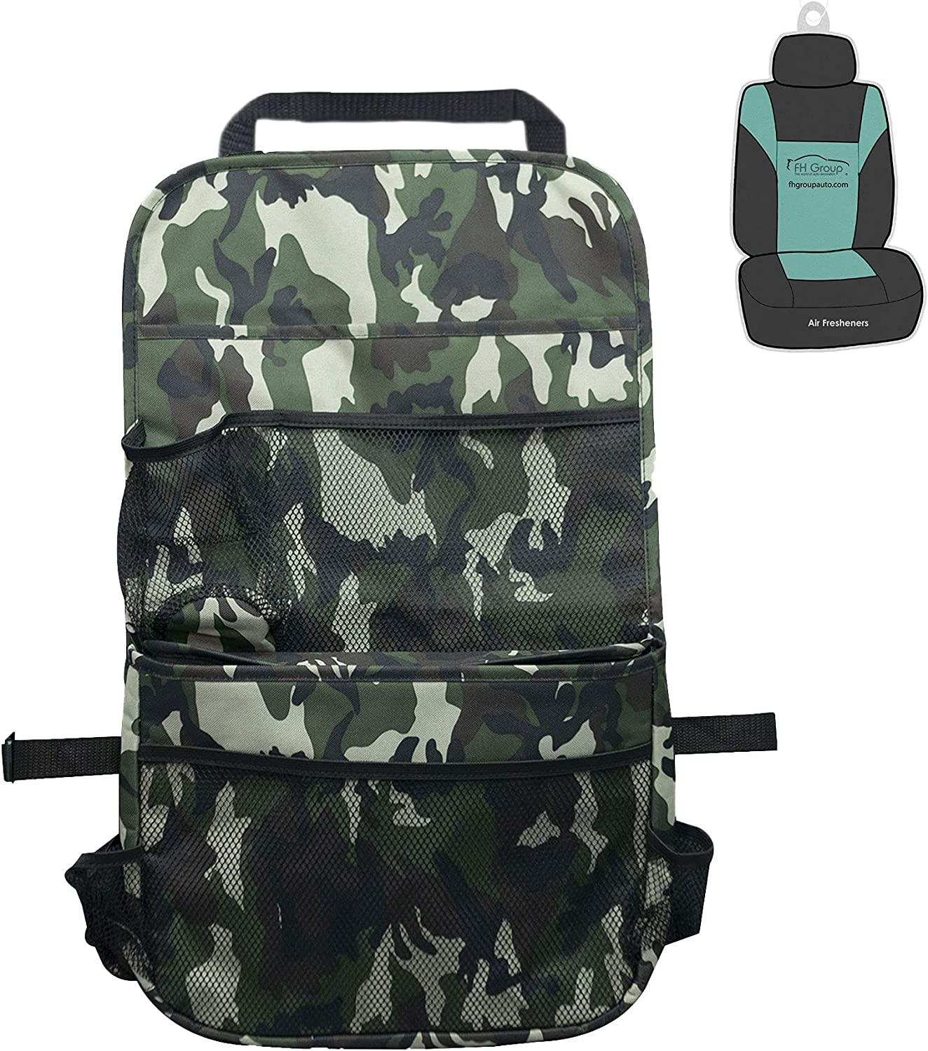 FH Group Multi-Pocket Camo Print Seat Back Organizer with Cooler - Backseat Organizer for Kids-Universal