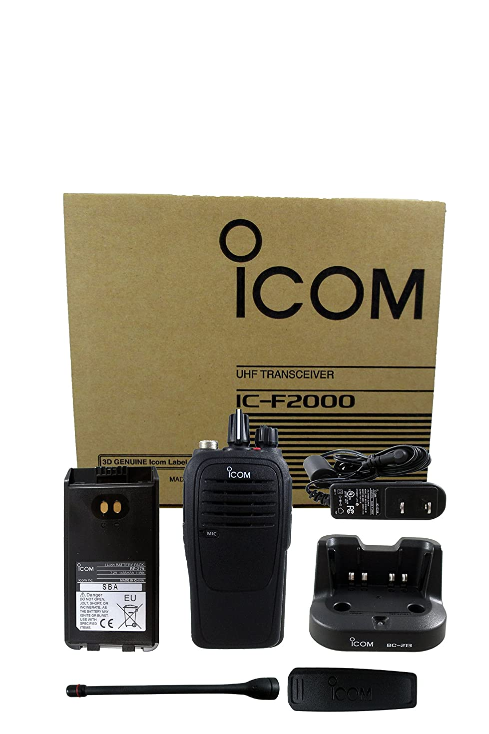Icom IC-F2000 01 BC-213 4 watt 16 channel UHF 400-470mhz two way radio with charger complete accessories kit