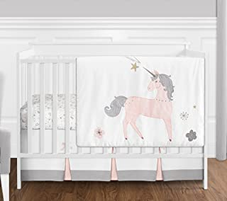 Sweet JoJo Designs 4 Piece Pink, Grey and Gold Unicorn Baby Girl Crib Bedding Set Without Bumper