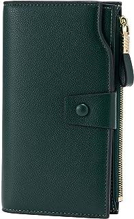 WOZEAH Women's RFID Blocking Large Capacity Luxury Wax PU Leather Clutch Wallet Card Holder Organizer Ladies Purse (2-green)