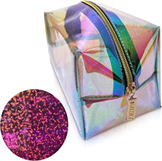 Guzily Holographic Makeup Cosmetic Bag with Shiny Sparkling Glitter, Water Resistant Neon Material, Smooth Shiny Gold Finish Zipper, Unicorn Rainbow Pencil Pouch, Large Holo Glitter Makeup Bag (Pink)