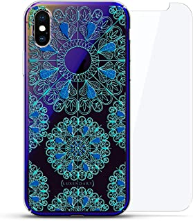 Ornament: Turquoise & Blue Mandalas with Apple Logo Circle | Luxendary Gradient Series 360 Bundle: Clear Ultra Thin Silicone Case + Tempered Glass for iPhone Xs Max (6.5