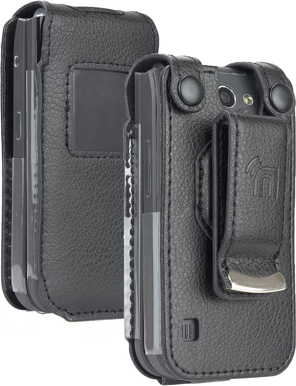 Case for Nokia 2720 V Flip Phone, Nakedcellphone [Black Vegan Leather] Form-Fit Cover with [Built-in Screen Protection] and [Metal Belt Clip]