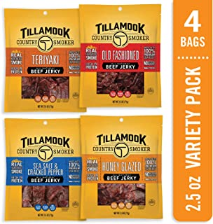 Tillamook Country Smoker All Natural, Real Hardwood Smoked Old Fashioned Beef Jerky, Variety Pack 10 Ounce