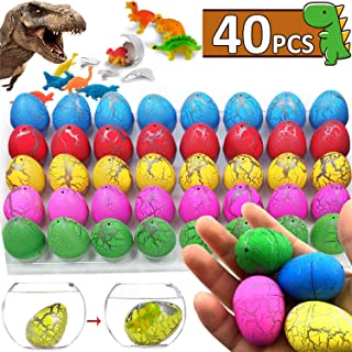 iGeeKid Dinosaur Eggs Toys Grow in Water Pool Dive Toys Science Kits Hatching Egg Crack Novelty Toy Mini Dino Egg with Assorted Color for Toddler Kids 3-10 Boys Girls Birthday Gift