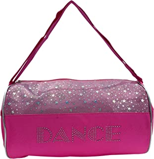 "Dance Duffel Bag Pink and Clear with Silver Stars (13"")"