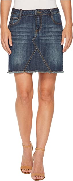 Denim Five-Pocket Skirt with Raw Edge Hem