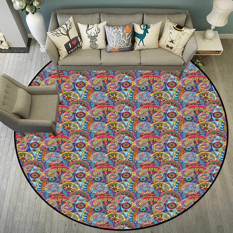 Round mat for Door Entrance Indoor Round Indoor Floor mat Entrance Circle Floor mat for Office Chair Wood Floor Circle Floor mat Office Round mat for Living Room Pattern 5'7  Diameter