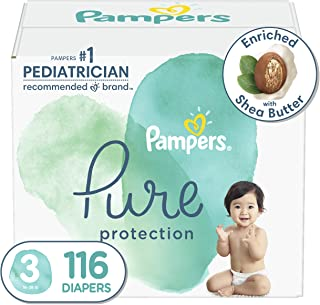 Diapers Size 3, 116 Count - Pampers Pure Protection Disposable Baby Diapers, Hypoallergenic and Unscented Protection, Enor...