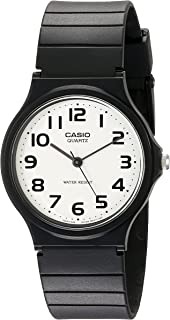 Men's Classic Quartz Watch with Resin Strap, Black, 20 (Model: EAW-MQ-24-7B2)