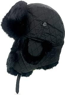 surell Trapper Fur Aviator Hat with Rabbit Fur Trim - Warm Bomber Trooper Hat