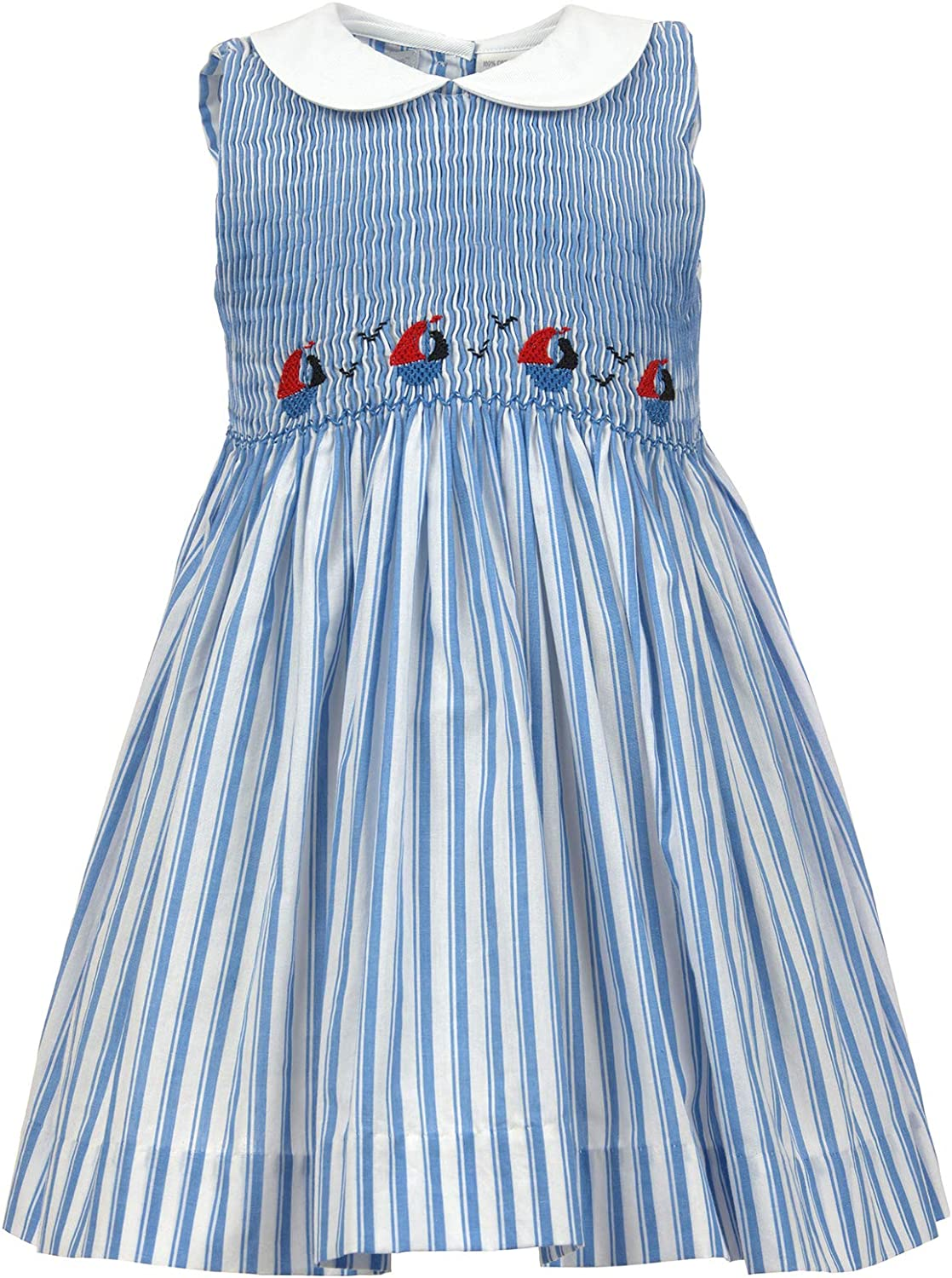 Carriage Boutique Girls Dress Sleeveless Hand Smocked Summer Nautical and Independence Day Dresses