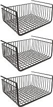 House of Quirk Under Shelf Basket Wire Rack Easily Slides Shelves (Black) - Set of 3