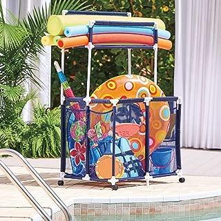 Pool Toy Storage Bin With Noodle Holder For Rafts Vests Balls Floaties Towels