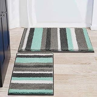 HEBE Bath Rug Set of 2 Piece Microfiber Bathroom Rugs Sets Non Slip Shag Bath Mat Rug for Bathroom Kitchen Bedroom Washabl...