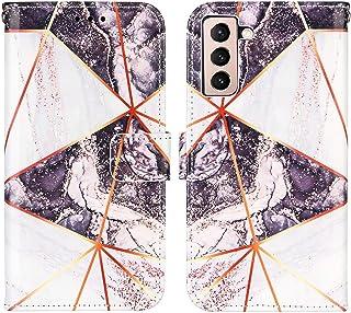 WJMWF Compatible con Funda Samsung Galaxy S21+/S21 Plus 5G Costuras Mármol PU Cuero Wallet Flip Caso Cierre Magnético Ranu...