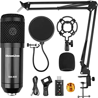 2020 Upgraded Condenser Microphone Bundle for Computer, ChromLives BM-800 Mic with Boom Arm for Gaming, Podcast,YouTube on...