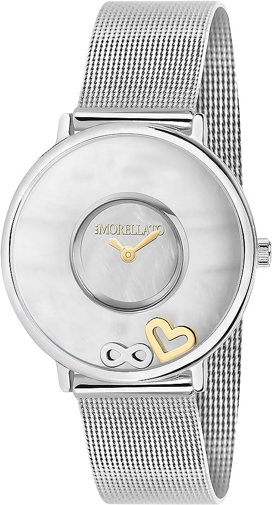 Morellato, orologio analogico al quarzo per donna, cinturino in acciaio inossidabile ,cassa in ottone R0153150503