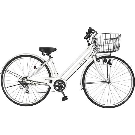 シティサイクル ホワイト 白 自転車 パラレルフレーム 27インチ 6段変速ギア 鍵付き ライト付きトロワ trois ママチャリ
