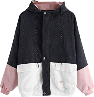 Women's Cute Corduroy Color Block Single Breasted Patchwork Long Sleeve Oversized Hooded Jacket Windbreaker Coat