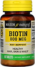 Mason natural biotin 800 mg tablets, Vitamin B - 60 ea