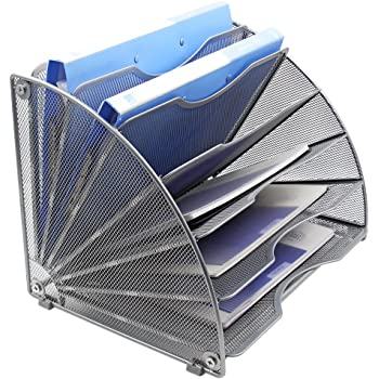 EasyPAG Fan-Shaped Desk File Organizer 6 Compartment Magazine Holder Silver