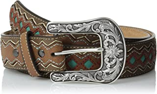 ARIAT womens A1518202 Blue Diamond Inlay Center Belt Belt - brown