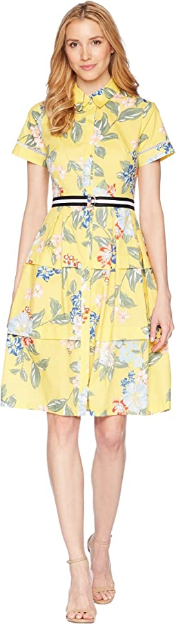 Donna Morgan - Printed Cotton Poplin Shirtdress