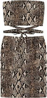 Women's Snakeskin Print Criss-Cross Knot Bandeau Crop Top & Pencil Skirt Set Sexy Two Piece Set