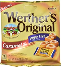 WERTHER'S ORIGINAL Sugar Free Caramel Hard Candy, 1.46 Ounce Bag (Pack of 12), Hard Candy, Bulk Candy, Individually Wrapped Candy Caramels, Caramel Candy Sweets, Bag of Candy, Hard Candy Bulk