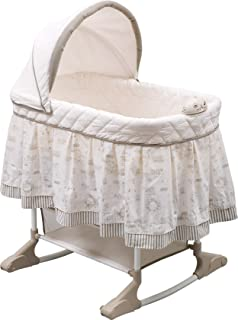 Delta Children Rocking Bedside Bassinet - Portable Crib with Lights Sounds and Vibrations, Play Time Jungle