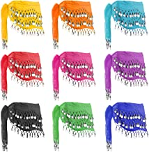 Hip Scarfs for Belly Dancing, 10PCS Hip Scarves with 128-Silver Coins Belly Dance Waist Costume Belt, Chiffon Dangling Belly Dance Sequins Hip Scarf
