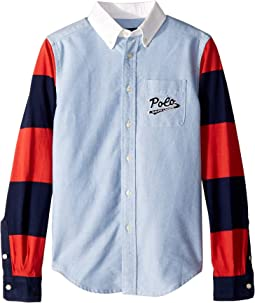 Jersey Sleeve Oxford Shirt (Big Kids)