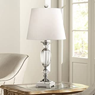 Traditional Table Lamp Chrome Beveled Crystal Urn White Drum Shade for Living Room Family Bedroom Bedside - Vienna Full Spectrum